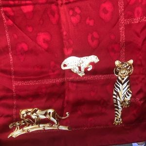 Cartier Accessories - Cartier Birds and Felines Motif Red Silk Scarf❤️